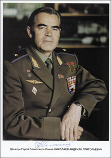 Autographs: MAJOR GENERAL ANDRIAN NIKOLAYEV - PRINTED PHOTOGRAPH SIGNED IN INK