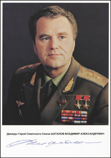 Autographs: LT. GENERAL VLADIMIR SHATALOV - PHOTOGRAPH SIGNED