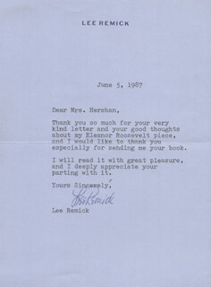 LEE REMICK - TYPED LETTER SIGNED 06/05/1987
