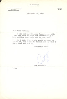 ART BUCHWALD - TYPED LETTER SIGNED 09/25/1967