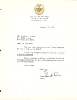 ED KOCH - TYPED LETTER SIGNED 02/02/1978