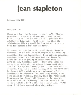 JEAN STAPLETON - TYPED LETTER SIGNED 10/28/1986