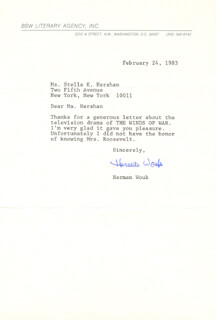 HERMAN WOUK - TYPED LETTER SIGNED 02/24/1983