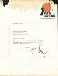 OTTO PREMINGER - TYPED LETTER SIGNED 03/31/1967