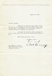 GENE TUNNEY - TYPED LETTER SIGNED 08/17/1935