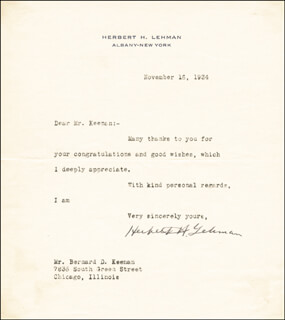 GOVERNOR HERBERT H. LEHMAN - TYPED LETTER SIGNED 11/16/1934