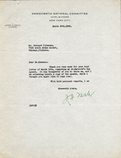 JAMES A. FARLEY - TYPED LETTER SIGNED 03/29/1940