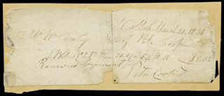 Autographs: PETER COOPER - MANUSCRIPT DOCUMENT SIGNED 03/21/1836