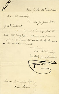 CYRUS W. FIELD - MANUSCRIPT LETTER SIGNED 12/28/1885