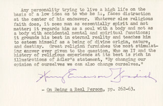 Autographs: HARRY EMERSON FOSDICK - TYPED QUOTATION SIGNED