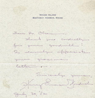 HARRY EMERSON FOSDICK - AUTOGRAPH LETTER SIGNED 07/30/1952
