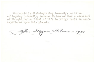 Autographs: DR. JOHN HAYNES HOLMES - TYPED QUOTATION SIGNED 1951