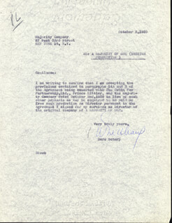 DORE SCHARY - CARBON TYPED LETTER SIGNED 10/02/1959