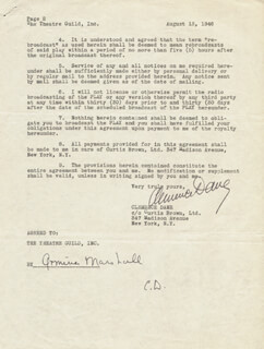 CLEMENCE (WINIFRED ASHTON) DANE - DOCUMENT SIGNED 08/13/1946 CO-SIGNED BY: ARMINA MARSHALL