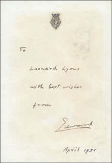 KING EDWARD VIII - AUTOGRAPH NOTE SIGNED 04/1951