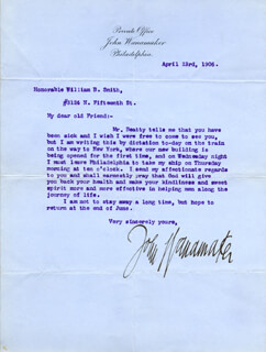 Autographs: JOHN WANAMAKER - TYPED LETTER SIGNED 04/23/1906