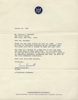 JAMES ROOSEVELT - TYPED LETTER SIGNED 08/26/1985