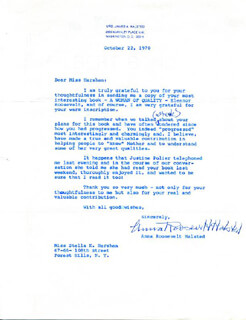 Autographs: ANNA ROOSEVELT - TYPED LETTER SIGNED 10/22/1970