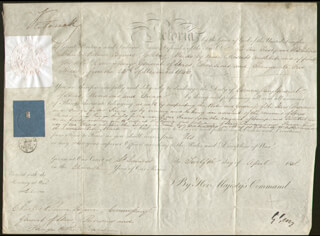 Autographs: QUEEN VICTORIA (GREAT BRITAIN) - MILITARY APPOINTMENT SIGNED 04/12/1848 CO-SIGNED BY: HENRY GEORGE EARL GREY III