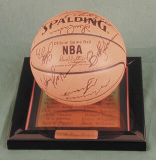 Autographs: THE CHICAGO BULLS - BASKETBALL SIGNED CIRCA 1991 CO-SIGNED BY: MICHAEL AIR JORDAN, DANNY AINGE, STACEY KING, B. J. (BENJAMIN ROY) ARMSTRONG, WILL PERDUE, HORACE GRANT, SCOTTIE PIPPEN, JOHN PAXSON, CLIFF LEVINGSTON, CLYDE DREXLER, BOB HANSEN II, CHUCK OLSON JR., THE PORTLAND TRAIL BLAZERS , WAYNE COOPER, ROBERT PACK, BUCK WILLIAMS, ALAA ABDELNABY, MARK BRYANT, ENNIS WHATLEY, JEROME KERSEY