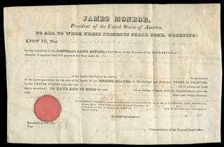 PRESIDENT JAMES MONROE - LAND GRANT SIGNED 05/01/1824 CO-SIGNED BY: GEORGE GRAHAM