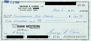 ENOLA GAY CREW (GEORGE R. CARON) - AUTOGRAPHED SIGNED CHECK 03/09/1990