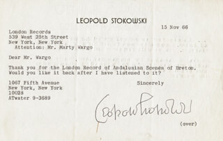 LEOPOLD STOKOWSKI - TYPED LETTER SIGNED 11/15/1966
