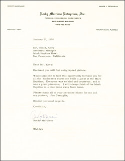 ROCKY MARCIANO - TYPED LETTER SIGNED 01/27/1958