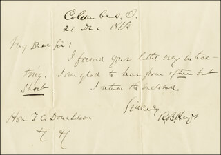 PRESIDENT RUTHERFORD B. HAYES - AUTOGRAPH LETTER SIGNED 12/21/1876
