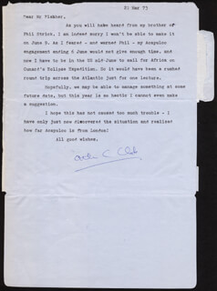 SIR ARTHUR C. CLARKE - TYPED LETTER SIGNED 03/21/1973