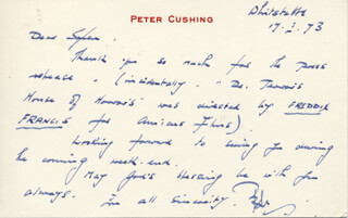 PETER CUSHING - AUTOGRAPH LETTER SIGNED 03/17/1973