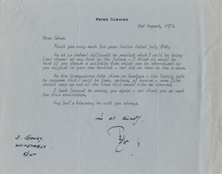 PETER CUSHING - TYPED LETTER SIGNED 08/02/1972