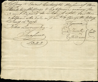 CHIEF JUSTICE OLIVER ELLSWORTH - MANUSCRIPT DOCUMENT SIGNED 01/16/1776 CO-SIGNED BY: EZEKIEL WILLIAMS, MAYOR THOMAS SEYMOUR, EDWARD CARTWRIGHT