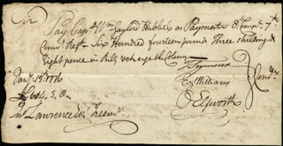 CHIEF JUSTICE OLIVER ELLSWORTH - MANUSCRIPT DOCUMENT SIGNED 01/13/1776 CO-SIGNED BY: EZEKIEL WILLIAMS, MAYOR THOMAS SEYMOUR, WILLIAM HUBBELL