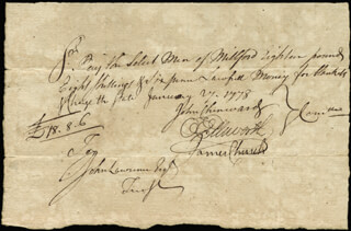 Autographs: CHIEF JUSTICE OLIVER ELLSWORTH - MANUSCRIPT DOCUMENT SIGNED 01/27/1778 CO-SIGNED BY: JOHN CHENWARD, JAMES CHURCH