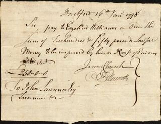 CHIEF JUSTICE OLIVER ELLSWORTH - MANUSCRIPT DOCUMENT SIGNED 01/16/1778 CO-SIGNED BY: EZEKIEL WILLIAMS, JAMES CHURCH