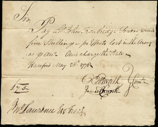 Autographs: CHIEF JUSTICE OLIVER ELLSWORTH - MANUSCRIPT DOCUMENT SIGNED 05/28/1778 CO-SIGNED BY: EBENEZER GAY, JAMES CHURCH