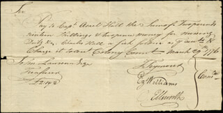 CHIEF JUSTICE OLIVER ELLSWORTH - MANUSCRIPT DOCUMENT SIGNED 03/29/1776 CO-SIGNED BY: EZEKIEL WILLIAMS, MAYOR THOMAS SEYMOUR