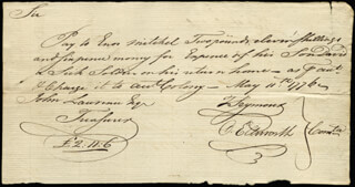 Autographs: CHIEF JUSTICE OLIVER ELLSWORTH - MANUSCRIPT DOCUMENT SIGNED 05/11/1776 CO-SIGNED BY: MAYOR THOMAS SEYMOUR