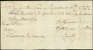 Autographs: CHIEF JUSTICE OLIVER ELLSWORTH - MANUSCRIPT DOCUMENT SIGNED 12/12/1775 CO-SIGNED BY: EZEKIEL WILLIAMS, MAYOR THOMAS SEYMOUR
