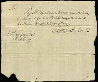 Autographs: CHIEF JUSTICE OLIVER ELLSWORTH - AUTOGRAPH DOCUMENT SIGNED 09/17/1777