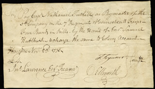 CHIEF JUSTICE OLIVER ELLSWORTH - MANUSCRIPT DOCUMENT SIGNED 11/23/1775 CO-SIGNED BY: MAYOR THOMAS SEYMOUR, SAMUEL HURLBURT