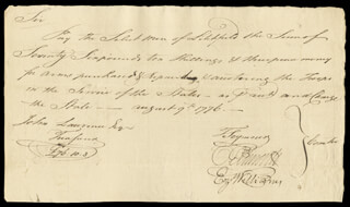 Autographs: CHIEF JUSTICE OLIVER ELLSWORTH - MANUSCRIPT DOCUMENT SIGNED 08/09/1776 CO-SIGNED BY: EZEKIEL WILLIAMS, MAYOR THOMAS SEYMOUR, JEDIDIAH STRANGE