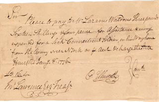 Autographs: CHIEF JUSTICE OLIVER ELLSWORTH - AUTOGRAPH DOCUMENT SIGNED 01/08/1776 CO-SIGNED BY: LAZARUS WATREUS