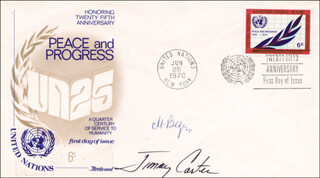 Autographs: PRESIDENT JAMES E. JIMMY CARTER - FIRST DAY COVER SIGNED CO-SIGNED BY: PRIME MINISTER MENACHEM BEGIN (ISRAEL)