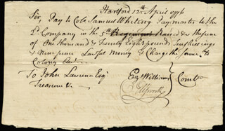 CHIEF JUSTICE OLIVER ELLSWORTH - AUTOGRAPH DOCUMENT SIGNED 04/12/1776 CO-SIGNED BY: EZEKIEL WILLIAMS