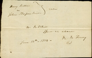 Autographs: CHIEF JUSTICE ROGER B. TANEY - AUTOGRAPH DOCUMENT SIGNED 06/13/1814
