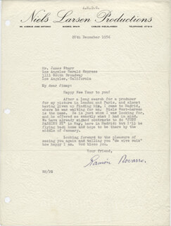 RAMON NOVARRO - TYPED LETTER SIGNED 12/28/1956