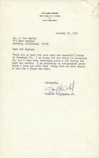 DOUGLAS FAIRBANKS JR. - TYPED LETTER SIGNED 01/10/1977