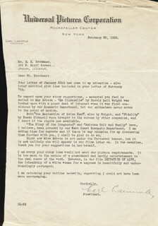 CARL LAEMMLE SR. - TYPED LETTER SIGNED 02/20/1935